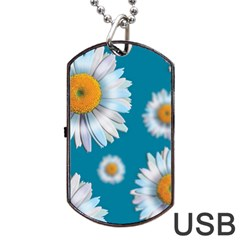 Floating Daisies Dog Tag USB Flash (Two Sides)  by theimagezone