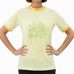 Green Vegetables Women s Fitted Ringer T Shirts by Famous