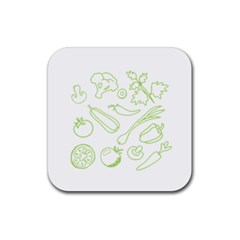 Green Vegetables Rubber Square Coaster (4 Pack)  by Famous