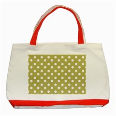 Lime Green Polka Dots Classic Tote Bag (red)  by creativemom