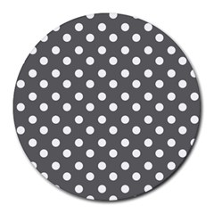 Gray Polka Dots Round Mousepads by creativemom