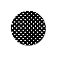 Black And White Polka Dots Magnet 3  (round) by creativemom