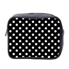 Black And White Polka Dots Mini Toiletries Bag 2 Side by creativemom
