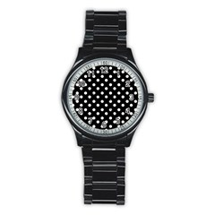 Black And White Polka Dots Stainless Steel Round Watches by creativemom