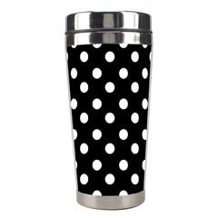 Black And White Polka Dots Stainless Steel Travel Tumblers by creativemom