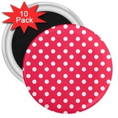 Hot Pink Polka Dots 3  Magnets (10 Pack)  by creativemom