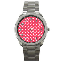 Hot Pink Polka Dots Sport Metal Watches by creativemom