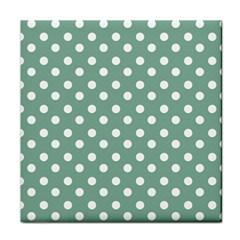 Mint Green Polka Dots Tile Coasters by creativemom