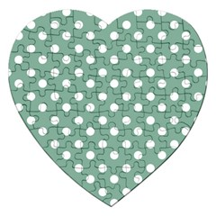 Mint Green Polka Dots Jigsaw Puzzle (heart) by creativemom