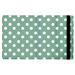Mint Green Polka Dots Apple Ipad 2 Flip Case by creativemom