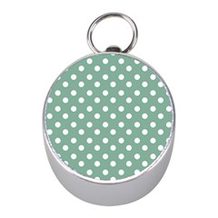 Mint Green Polka Dots Mini Silver Compasses by creativemom