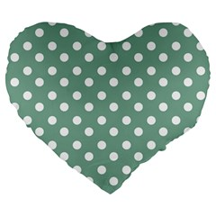 Mint Green Polka Dots Large 19  Premium Flano Heart Shape Cushions by creativemom