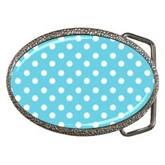 Sky Blue Polka Dots Belt Buckles by creativemom