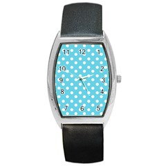 Sky Blue Polka Dots Barrel Metal Watches by creativemom