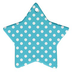 Sky Blue Polka Dots Star Ornament (Two Sides)  by creativemom