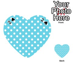 Sky Blue Polka Dots Playing Cards 54 (heart)