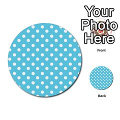 Sky Blue Polka Dots Multi Purpose Cards (round)