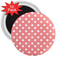 Coral And White Polka Dots 3  Magnets (10 Pack)  by creativemom