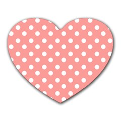 Coral And White Polka Dots Heart Mousepads by creativemom