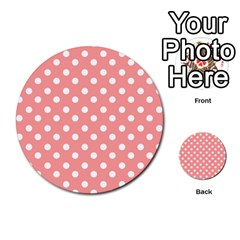 Coral And White Polka Dots Multi Purpose Cards (round)