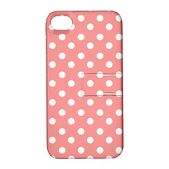 Coral And White Polka Dots Apple Iphone 4/4s Hardshell Case With Stand by creativemom