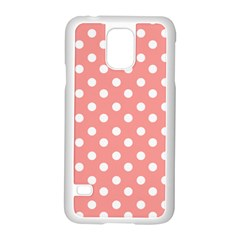 Coral And White Polka Dots Samsung Galaxy S5 Case (White) by creativemom