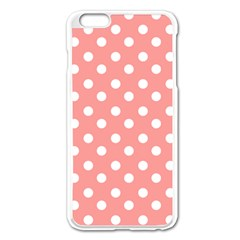 Coral And White Polka Dots Apple Iphone 6 Plus Enamel White Case