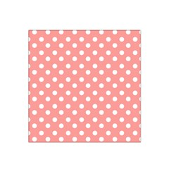 Coral And White Polka Dots Satin Bandana Scarf