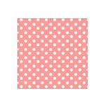 Coral And White Polka Dots Satin Bandana Scarf Front