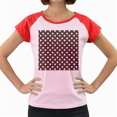 Brown And White Polka Dots Women s Cap Sleeve T Shirt by creativemom