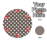 Brown And White Polka Dots Playing Cards 54 (Round)  Front - Heart8