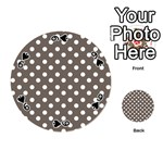 Brown And White Polka Dots Playing Cards 54 (Round)  Front - Spade9