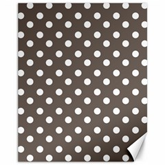 Brown And White Polka Dots Canvas 11  x 14   by creativemom