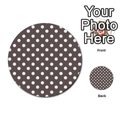 Brown And White Polka Dots Multi Purpose Cards (round)