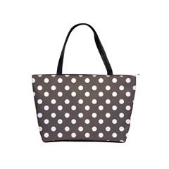 Brown And White Polka Dots Shoulder Handbags by creativemom
