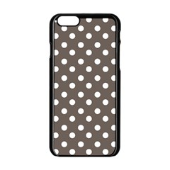 Brown And White Polka Dots Apple Iphone 6 Black Enamel Case by creativemom