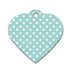 Blue And White Polka Dots Dog Tag Heart (one Side) by creativemom