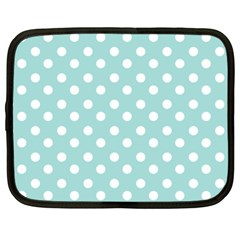 Blue And White Polka Dots Netbook Case (xl)  by creativemom