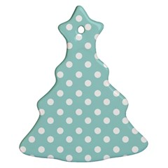 Blue And White Polka Dots Ornament (christmas Tree) by creativemom