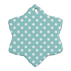 Blue And White Polka Dots Snowflake Ornament (2 Side) by creativemom