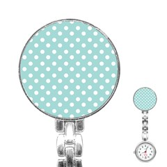 Blue And White Polka Dots Stainless Steel Nurses Watches by creativemom