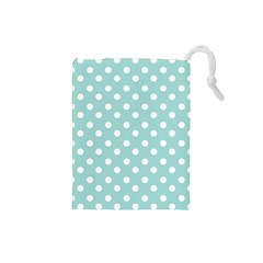 Blue And White Polka Dots Drawstring Pouches (small)  by creativemom