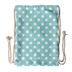 Blue And White Polka Dots Drawstring Bag (large) by creativemom