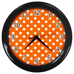 Orange And White Polka Dots Wall Clocks (black) by creativemom