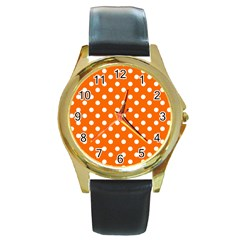 Orange And White Polka Dots Round Gold Metal Watches by creativemom