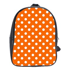 Orange And White Polka Dots School Bags(large)  by creativemom
