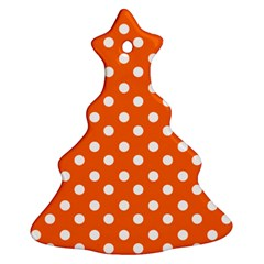 Orange And White Polka Dots Christmas Tree Ornament (2 Sides) by creativemom