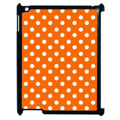 Orange And White Polka Dots Apple Ipad 2 Case (black) by creativemom