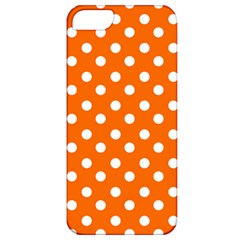 Orange And White Polka Dots Apple Iphone 5 Classic Hardshell Case by creativemom