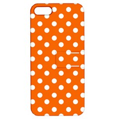 Orange And White Polka Dots Apple Iphone 5 Hardshell Case With Stand by creativemom